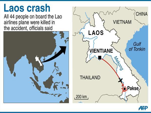 Lao Airlines Crash: Der Ort des Absturzes.