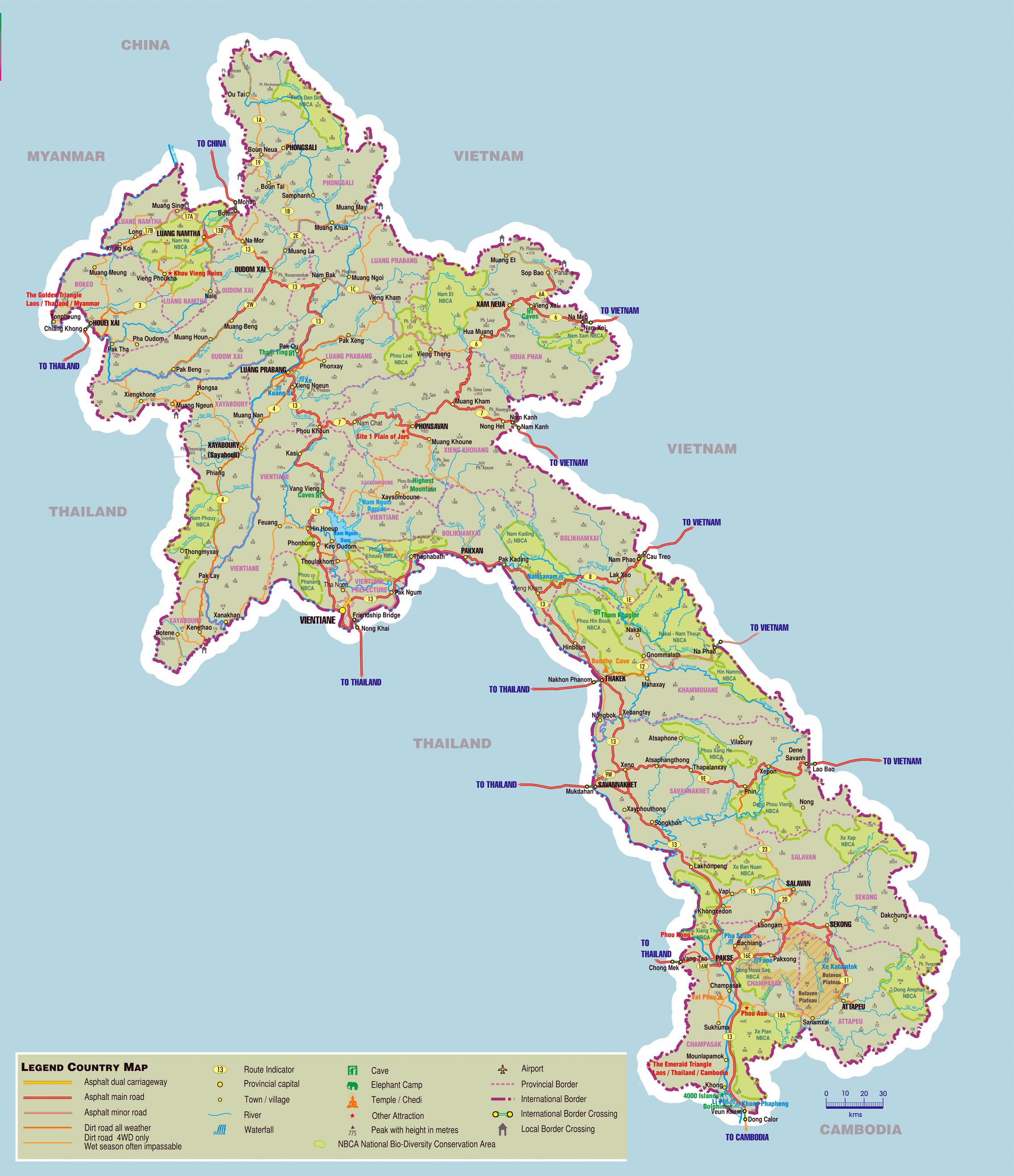Laos Karte mit Sehenswürdigkeiten