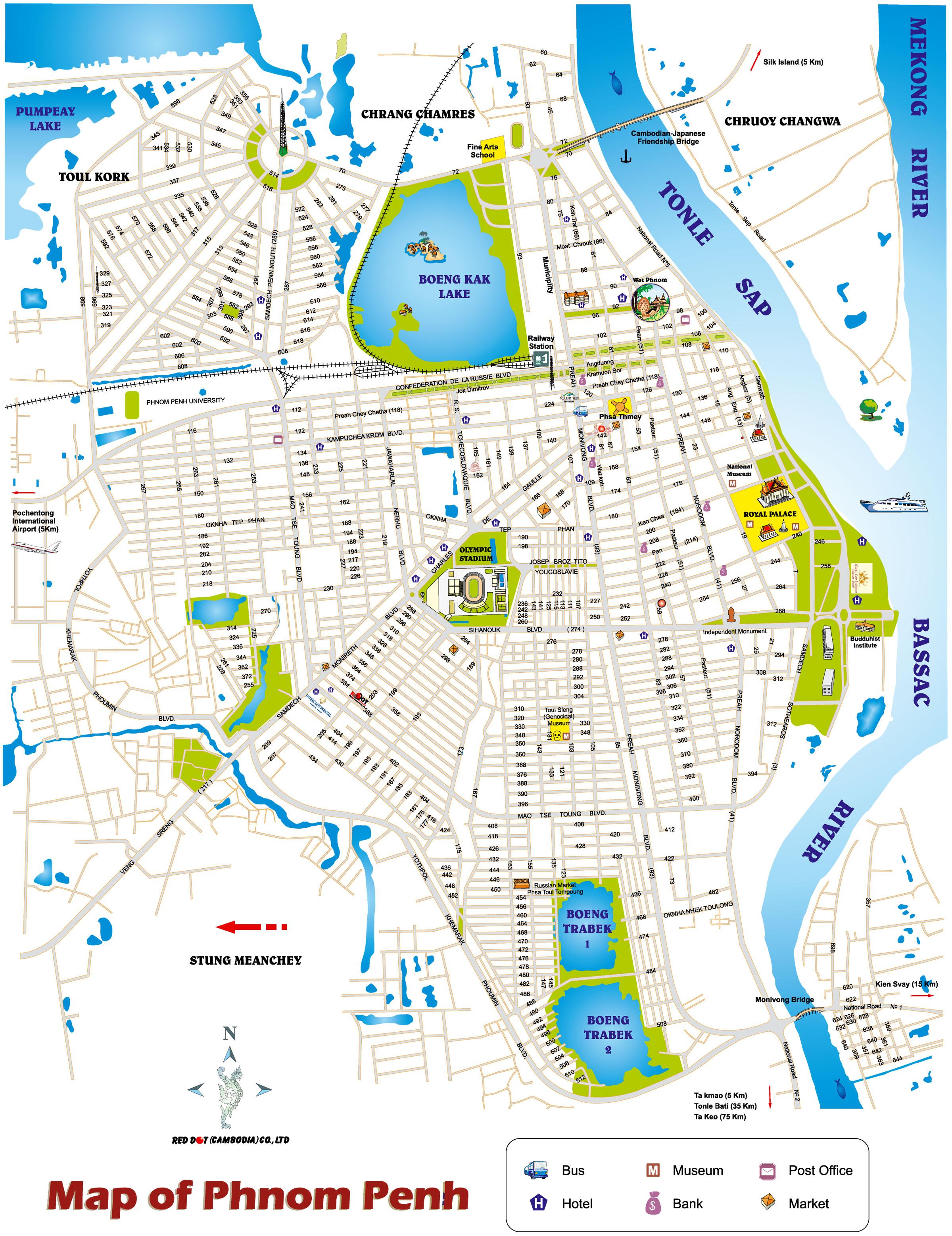 Phnom Penh Map, Karte