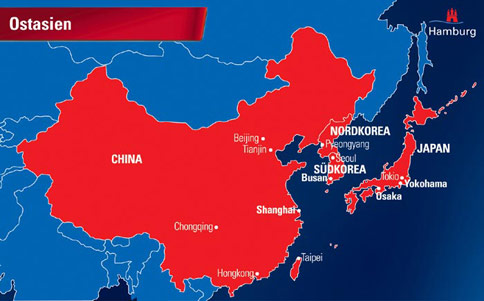 Ostasien Staaten Karte