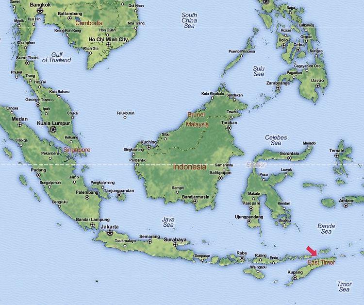 Osttimor: Lage auf der Weltkarte