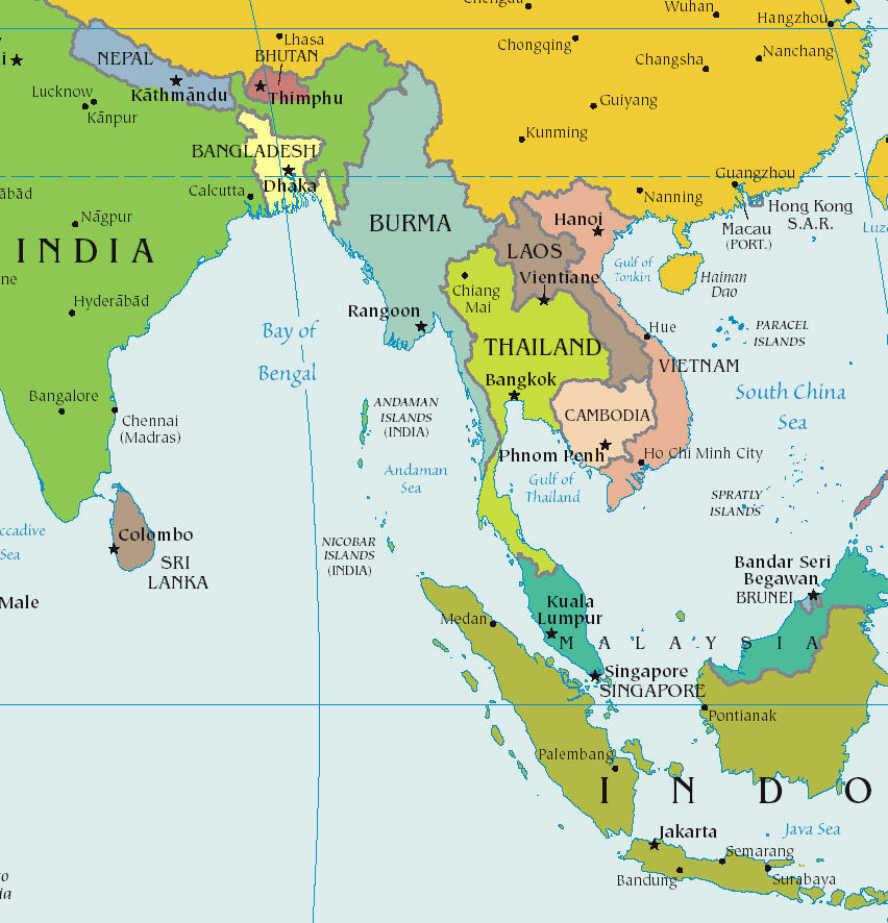 Liebenswert Weltkarte Mit Städten Das Beste Von Südostasien Karte