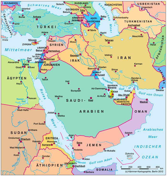 Vorderasien karte kämmer kartographie berlin 2012