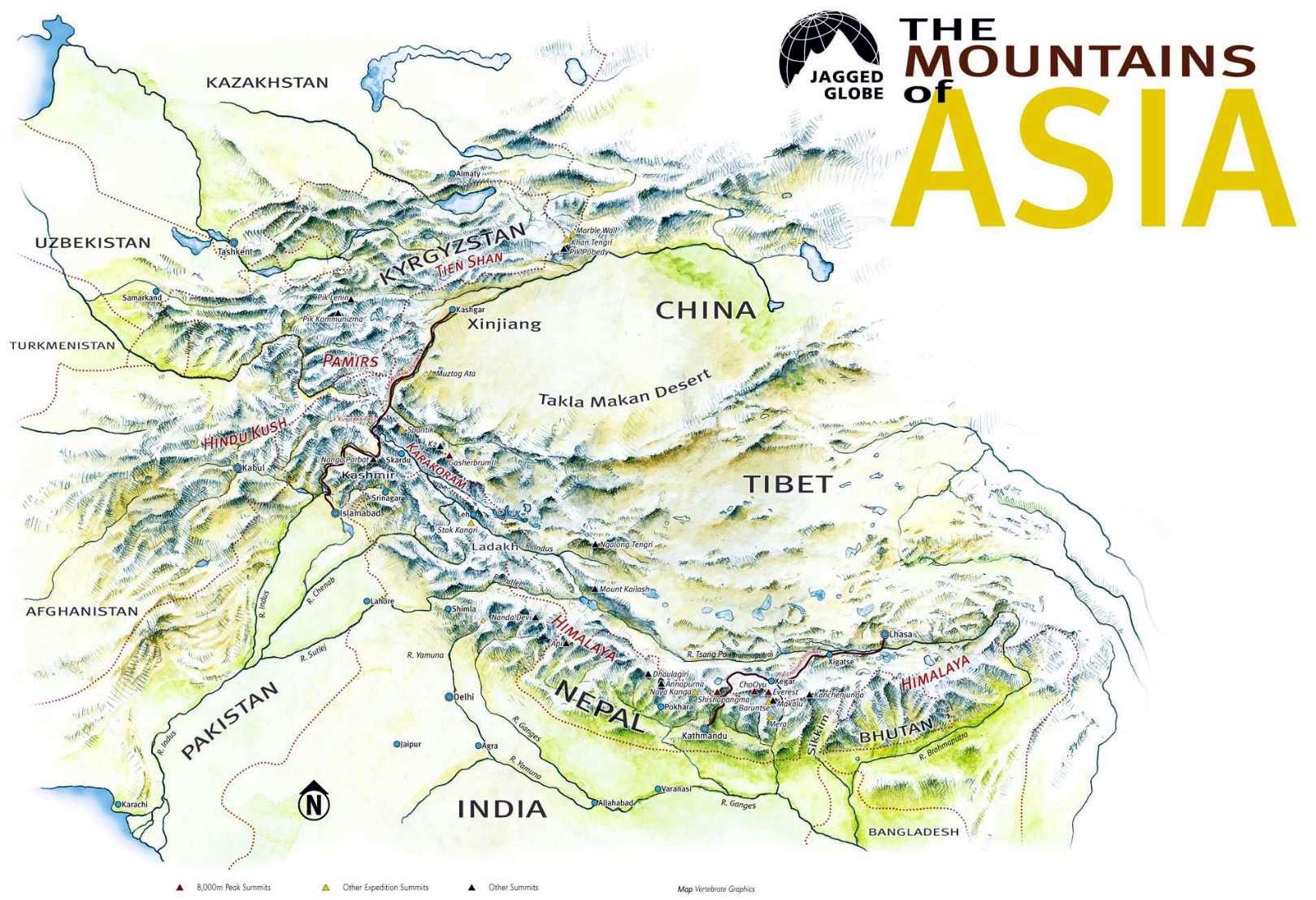 China Karte Physisch.Asien Karten Länder Hauptstädte Gebirge Flüsse Meere