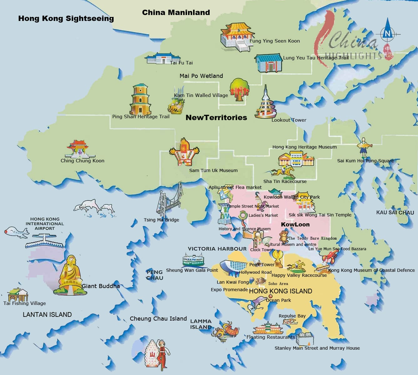 Hong Kong Karte, Map mit Sehenswürdigkeiten