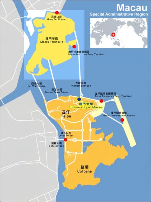 Macau Districts Map, Karte