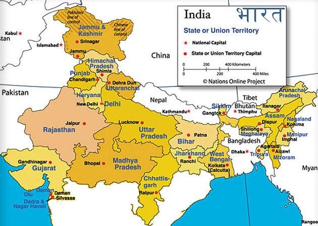 Nordindien Karte