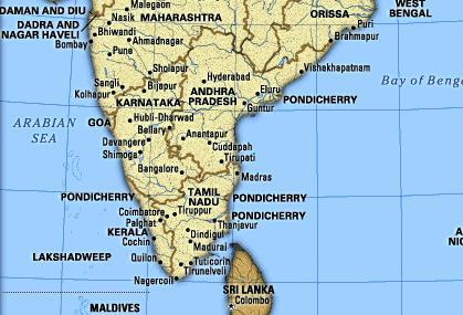 Südindien Karte