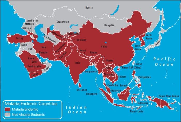 Malaria Karte Asien