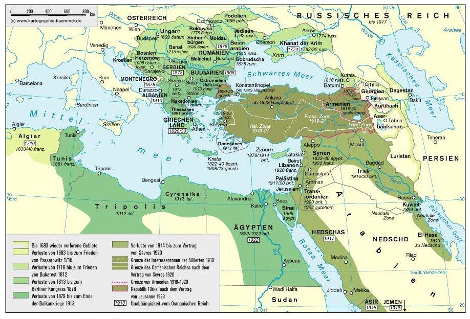Osmanisches Reich Karte Länder