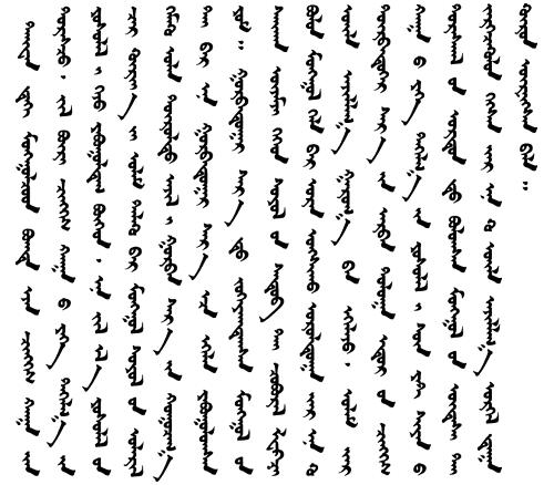 Mongolische Schrift, Alphabet